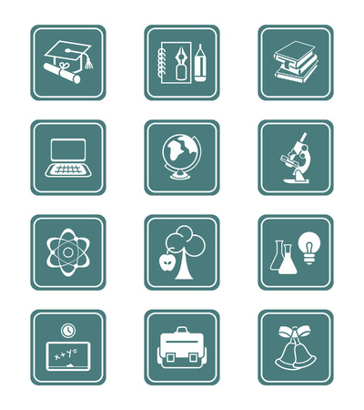 atom icon: School and college education objects, tools and science symbols vector icon set. Illustration