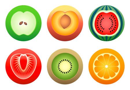 orange cut: Manzana, durazno, naranja, kiwi, fresa y sand�a en el color de alcanzar los s�mbolos Vectores