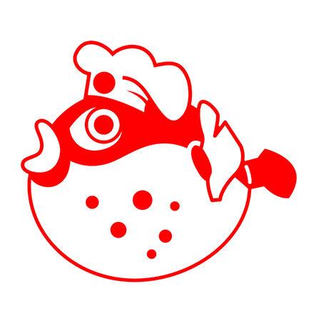 pez globo: Fugu (pez globo), como la tradicional cocina japonesa chef