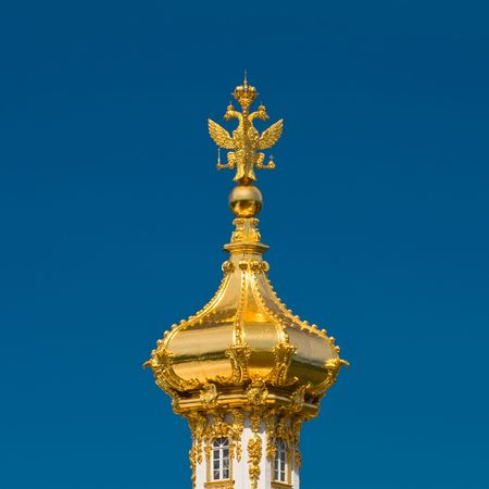 Russian Empire symbol at the top of Big Palace cupolan at Peterhof near St.Petersburg Stock Photo - 3389672