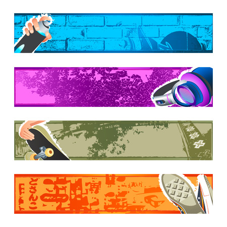 Urban culture backgrounds for the banners or headers. Vector