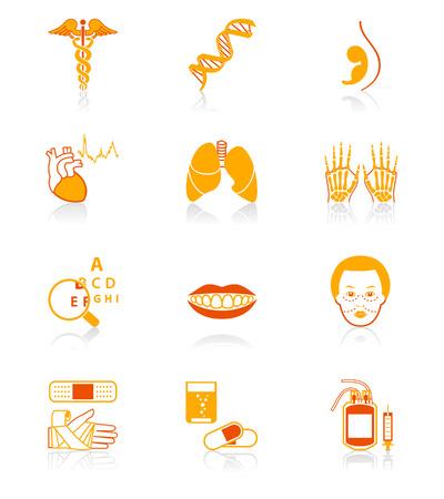 S�mbolos m�dicos, especialidades, �rganos humanos y de atenci�n de la salud de objetos  Foto de archivo - 3486630