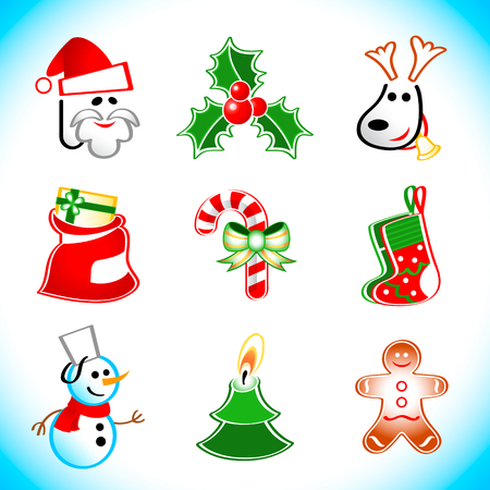 Colorful vector icons with traditional Christmas symbols Vector