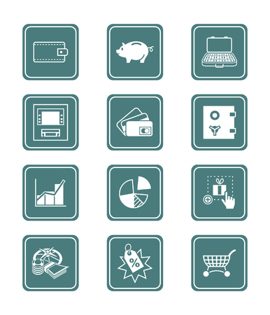 bankomat: All about earning, saving and spending  icon set. Illustration