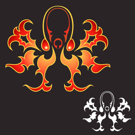 -like octopus flame design in color and white Illustration