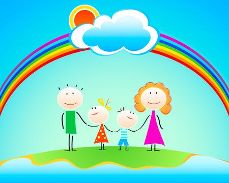 Happy four members family under rainbow Vector