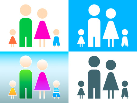 Four member family symbol in contour and colors Vector