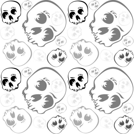 Skulls seamless pattern in grayscale over white background Vector