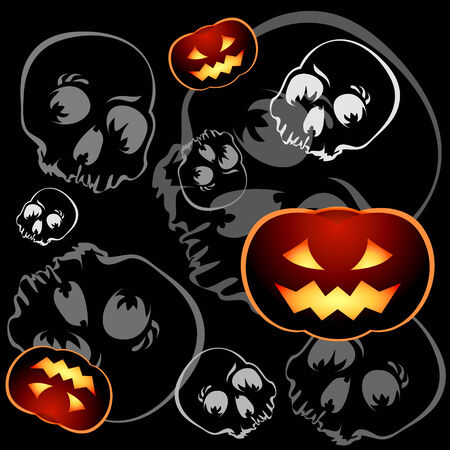 Pumkins and skulls seamless pattern over black background Vector