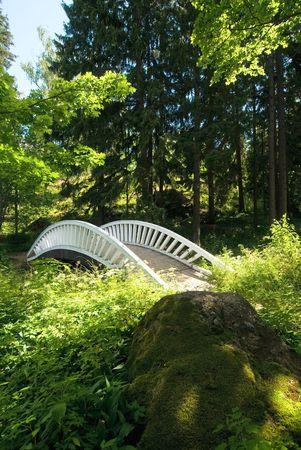 deserted: Second bridge over deserted pond at Monrepos Park, Vyborg, Russia
