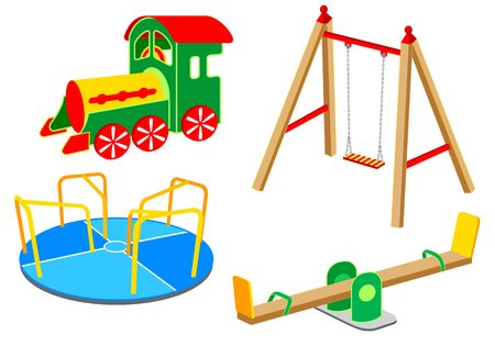 Playground equipment, 1: Carousel, Swing, See-saw, Wooden Train Vector