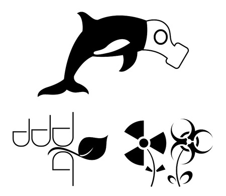radiation pollution: Ecology warning symbols: oceanwater, forestgreen life, groundnature