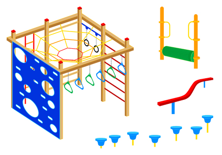 playground equipment: Playground equipment, 4 (Fitness): Pad walks, Log roll, Curved balance beam, Climbing wall, Parallel rings, Climbing net, Bridge, Bars Illustration