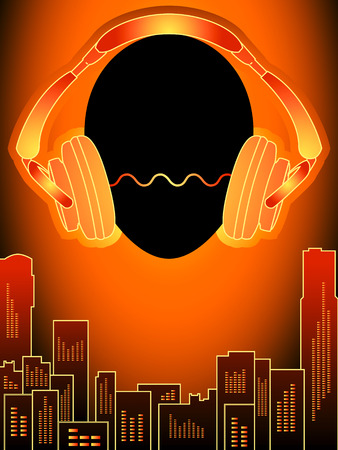 radio dj: Head with headphones over amplified orange city buildings