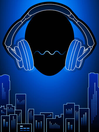audio electronics: Head with headphones over amplified city buildings Illustration