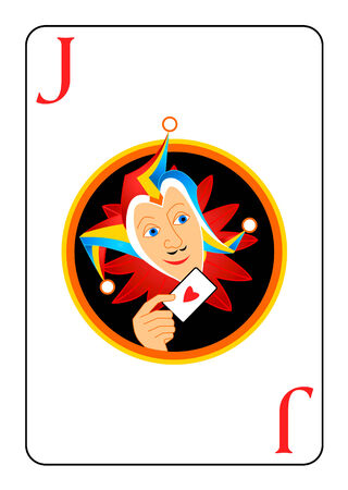 buffoon: Sly harlequin head at the center of Joker playing card Illustration