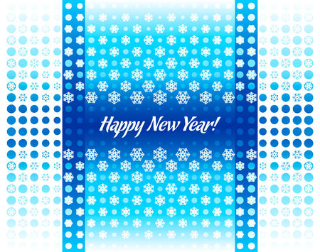 New Year halftone snowflakes card cover in blue nordic style Vector