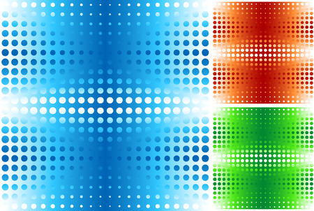 Halftone seamless pattern in blue, orange, green Vector