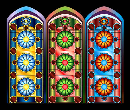church interior: Stained glass windows in three color schemes Illustration