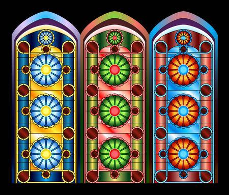 vetrate colorate: Vetrate in tre schemi di colore Vettoriali