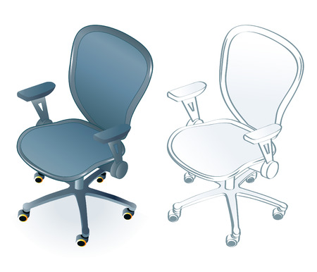 Typical office chair in two color/line art variants Stock Vector - 3800907