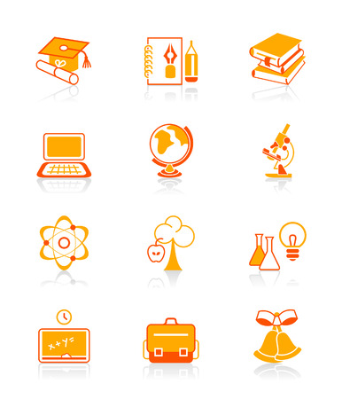 School and college education objects, tools and science symbols icon set. Stock Vector - 3810409