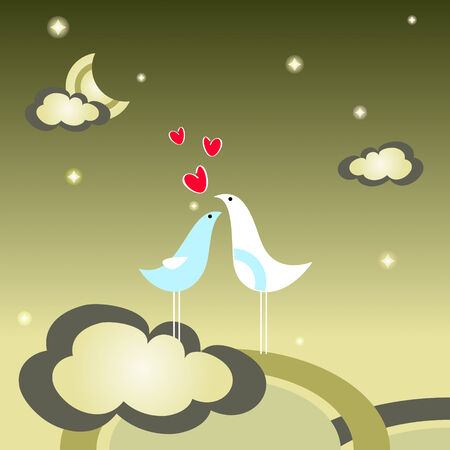 Birds in love at the top of world Vector