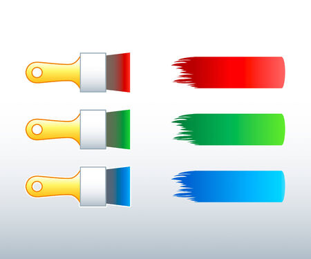 stoke: Paintbrushes with strokes in RGB (red-green-blue) color scheme Illustration