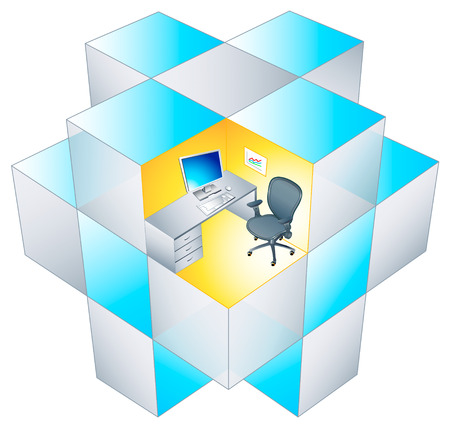 office cubicle: The working place at rotating office cubicle matrix.