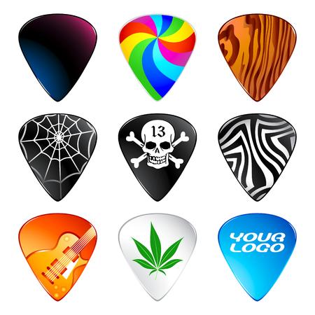rock logo: La guitarra o picos PLECTRUMS con dise�os personalizados