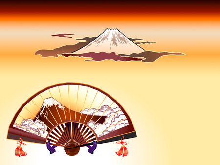 Fuji-san sensu (folding fan) and Mt. Fuji at the cloudy sunset in ukiyo-e style