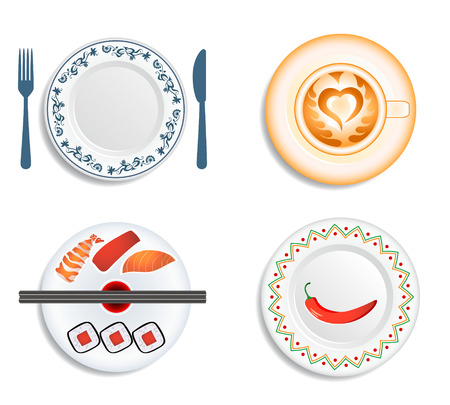 Plates and cup for the traditional, japanese, mexican cuisine and cafe. Illustration