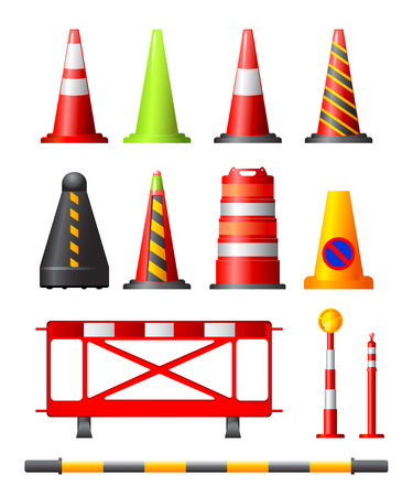 Collection of different traffic cones, drums, posts and safety barriers Vector