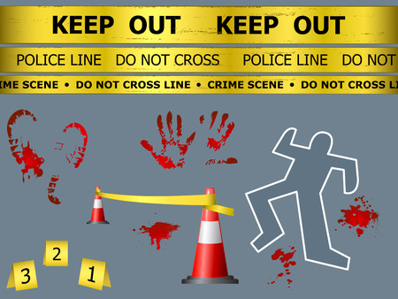 crimes: Caution sign lines, body contour, blood marks and cones at the crime scene