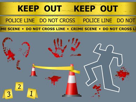 Precaución signo líneas, contorno corporal, la sangre y marcas de conos en la escena del crimen Ilustración de vector