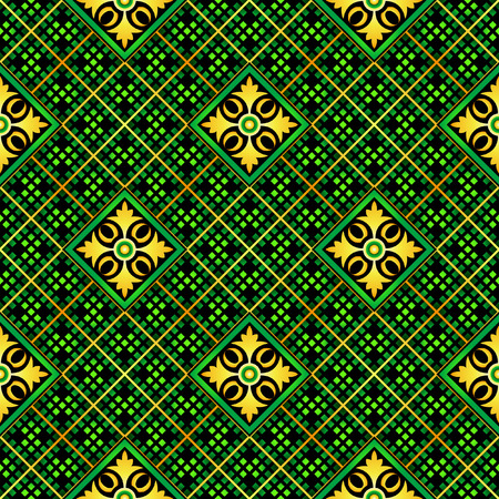 Seamless mosaic casino pattern in green-orange Vector