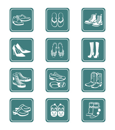 walking shoes: Collection of typical casual, sport and fashion footwear for all seasons. Illustration
