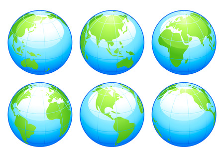 Six colorful glossy globes with different continents in focus Vector