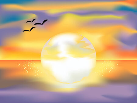 Bright sunset with the sun at the ocean. Mesh-art. Stock Vector - 3955678