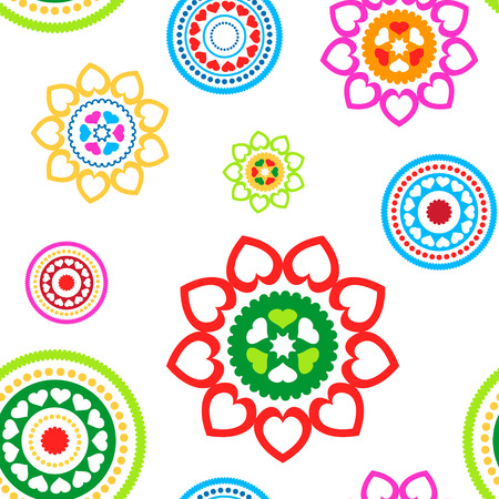 Colorful seamless circled hearts pattern on white background Vector