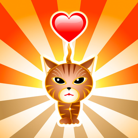 Striped japanese cat walking with the heart on his tail over rising sun Vector