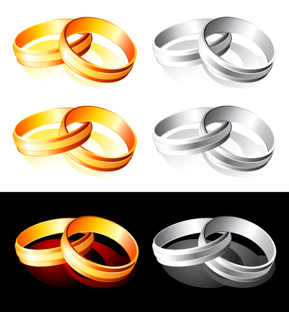 Set of glossy wedding gold and silver rings over white and black Vector