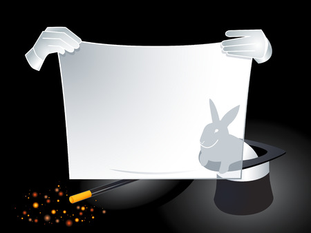 Magician hands holding banner with reflected rabbit Illustration