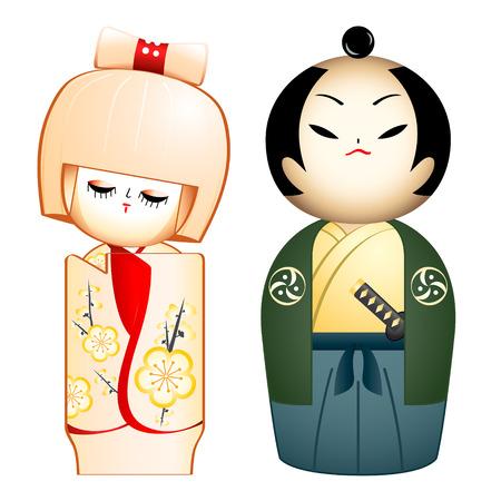 samoerai: Geisha en Samurai maat ontworpen Kokeshi-poppen Stock Illustratie