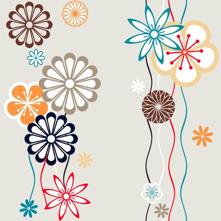 Nahtlose Blumenmuster im Retro-Farben