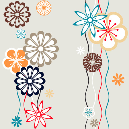 Seamless floral pattern in retro colors