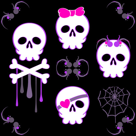 Set of emo skulls with decoration elements Vector
