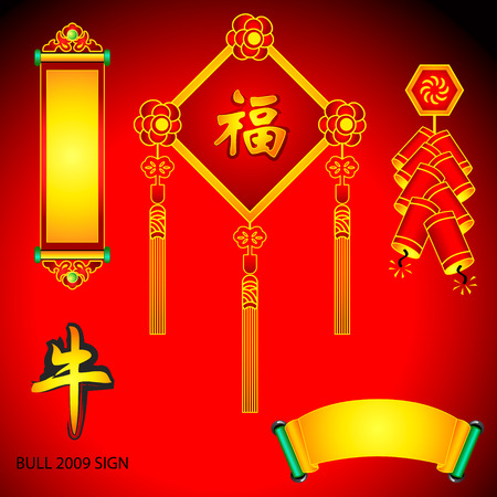 chinese new year decoration: Chinese New Year decoration elements: scrolls, banners, fireworks, calligraphy wishes and Bull sign