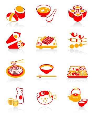 Traditional j-food: sushi, miso-siru, rolls, temaki (hand rolls), sashimi, yakitori (grilled), soba (noodle), gohan (rice), o-bento (lunch box), sake, fugu (blowfish) and green tea icon set. Vector