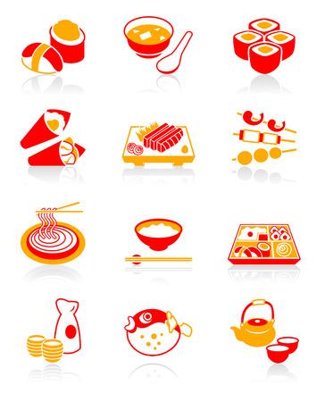 Traditional j-food: sushi, miso-siru, rolls, temaki (hand rolls), sashimi, yakitori (grilled), soba (noodle), gohan (rice), o-bento (lunch box), sake, fugu (blowfish) and green tea icon set. Illustration